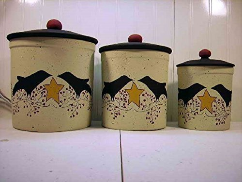 Primitive Black Crow Pip Berry Vine Italian Stoneware Canister Set by Primitive Country Loft House