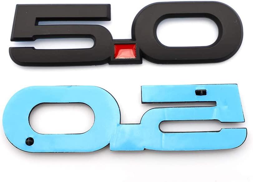 5.0Emblem x2 Matte Black Fender Trunk Self Adhesive Nameplate Sticker Replacement For Mustang 5.0L V8 Sport AUTO Decorative A Set Of ABS Emblem Decal GT Emblem Matte Black