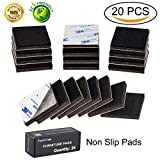 Furniture Pads 20 Pieces 2'' Non Slip Furniture Pads Furniture Grippers Self Adhesive Square Rubber Pads Anti Scratch Floor Protectors for Furniture Stopper on Hardwood Wood Floor in a Storage Case