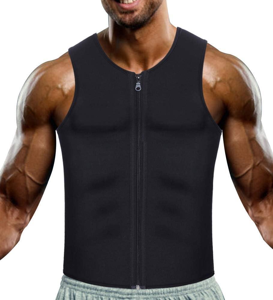 W-JACK Men Neoprene Sweat Sauna Vest Workout Waist Trainer Slimming Tank Top Fat Burner for Weight Loss