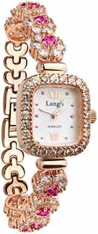 Langji Women's Crystal-Accented Rose Gold-Tone Bangle Watch Jewelry Bracelet Wrist Watches Lrg1514b21pk