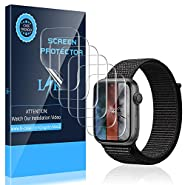 LK [6 Pack] Screen Protector for Apple Watch 44mm Series 4/5 - Max Coverage Bubble-Free Anti-Scratch iWatch 44mm Flexible TPU Film with Lifetime Replacement Warranty