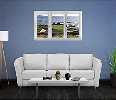 """48"""" Window Landscape Scene Nature View PEBBLE BEACH GOLF COURSE HOLE 7 #3 CLOSED WHITE Wall Graphic Room Sticker Home Office Art Décor Den Decal Mural LARGE"""