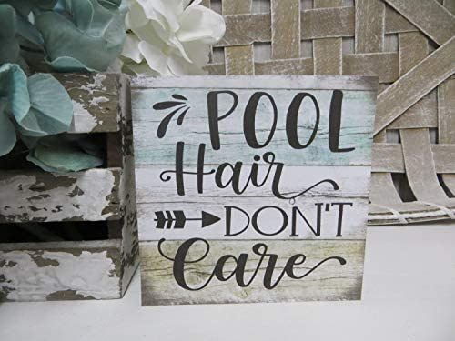 unknow Holzschild Pool Hair Don't Care, Pool Lover Schild Summer Pool Schild