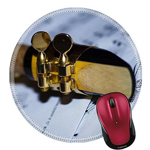 Liili Round Mouse Pad Natural Rubber Mousepad A soprano saxophone lying on sheet music Photo 17187956 Free Saxophone Jazz Sheet Music