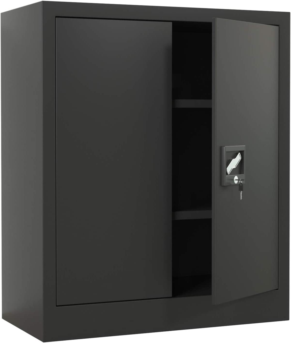 iJINGUR Metal Storage Cabinet with Locking Doors & 2 Height Adjustable Shelves, Lockable Steel File Cabinet, Great for Office, Garage and Kitchen Pantry (Black)
