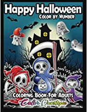 Happy Halloween Color by Number Coloring Book For Adults: Fun and Easy Designs With Spooky Characters, Cute Animals, and Haunted Houses