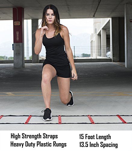 Agility Ladder, Sports Ladder Training Equipment for Kids and Athletes of All Ages. Indoor and Outdoor Speed Training for Soccer, Football, and other Activities, 15ft long, 11 rung