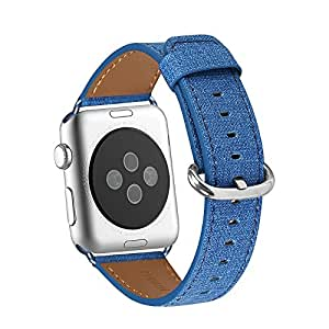 Apple Watch Band 38mm, WFEAGL Retro Top Grain Genuine Leather Band with Stainless Steel Clasp for iWatch Series 2,Series 1,Sport, Edition (Denim Blue Band+Silver Buckle)