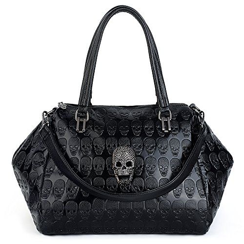 Black Leather Skull Washed Women UTO 4 Shoulder Studded Rivet Bag Style Purse Tote Ladies Bag PU nqaOqTwA