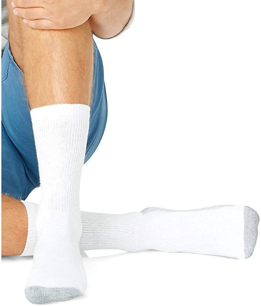 Hanes Men's Cushion Crew Sock (Sock Size:10-13/Shoe Size: 6-12, White)