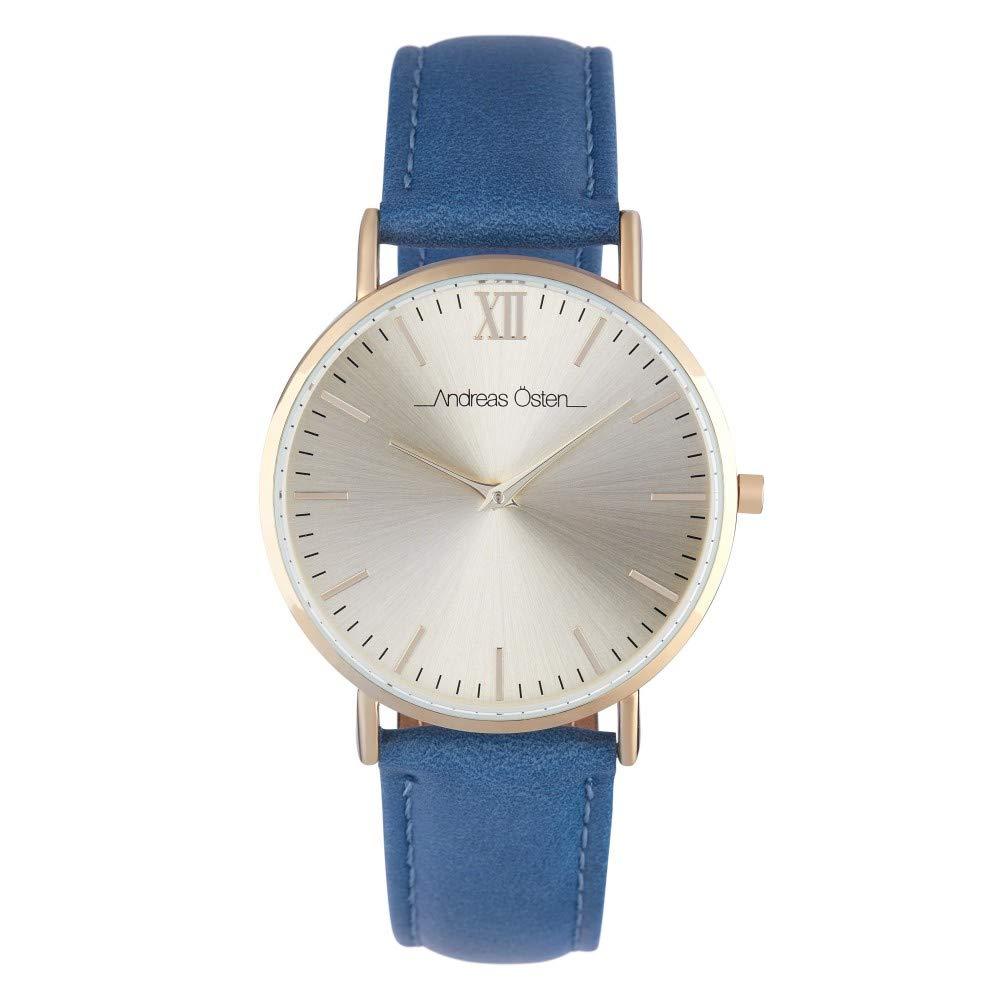 Andreas Osten Unisex Quartz Watch 36 mm Gold Dial and Blue PU Bracelet AOW18016