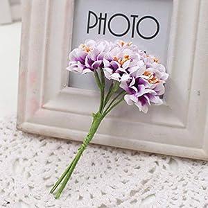 GSD2FF 6pcs Silk Gradient Stamen Artificial Flower Bouquet for Wedding Decoration DIY Decorative Wreath Fake Flowers,Red 5