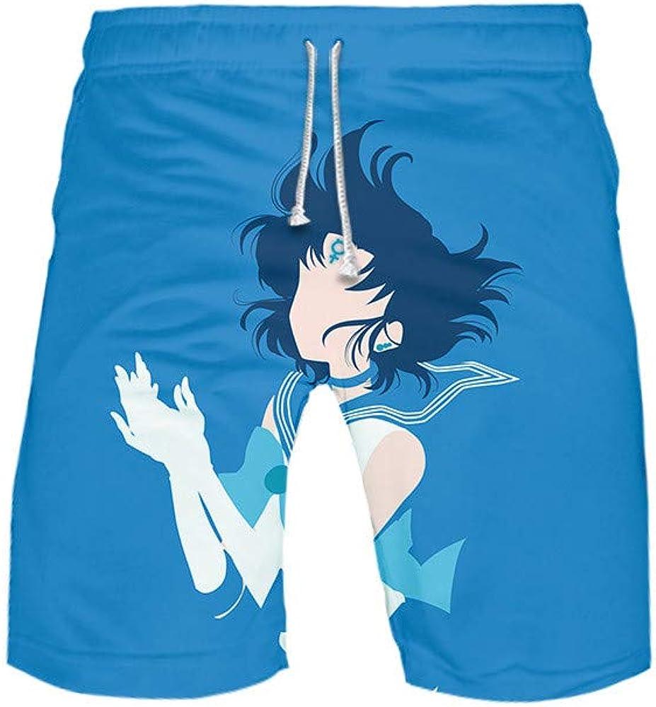 BOBD-DW Sailor Moon Shorts De Baño para Hombre Shorts De Playa Traje De Bañode Secado Rápido para Vacaciones Bañador Hombre De Natación Pantalones Cortos