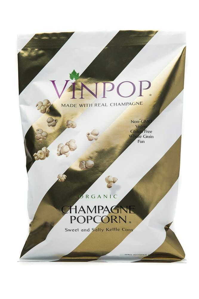 VINPOP Organic Popcorn - Champagne, 2 Ounce Bag - Made with Wine Popcorn, Non GMO, Gluten Free