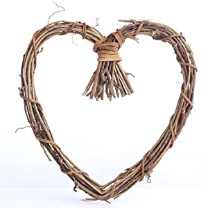 Factory Direct Craft Natural Twig Grapevine Heart Shaped Wreaths for Your Decorating and Craft Projects- Package of 6 34
