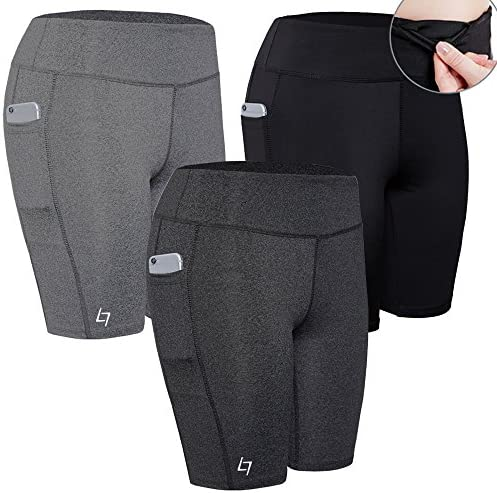FITTIN Women's Active Fitness Pocket Sports Shorts - Yoga Running Activewear Workout Gym Running Leggings