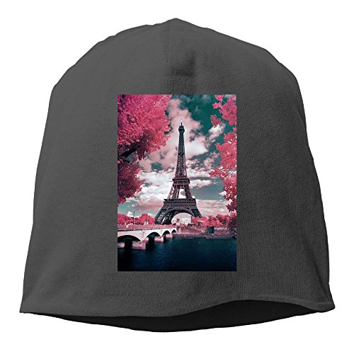DMN Fashion Solid Color France Paris Eiffel Tower Maple Leaf Landscape Headband For Unisex Black One Size