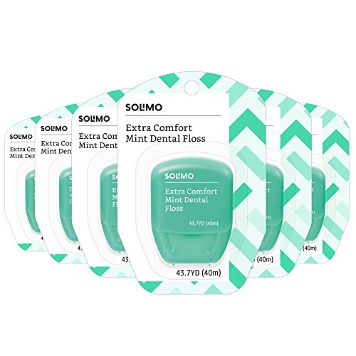 Amazon Brand - Solimo Extra Comfort Mint Dental Floss, 40 M (Pack of 6) by Solimo