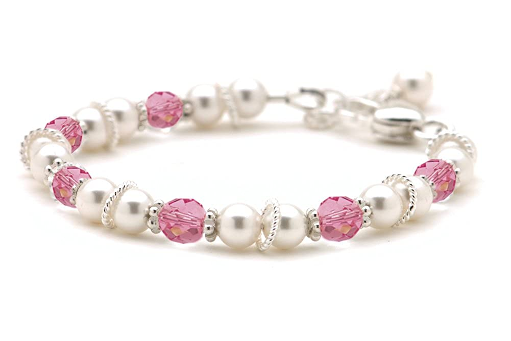 Cultured Freshwater Pearl & Pink Crystal Christening Bracelet Lily Brooke Jewelry LBB-88-PINK