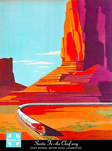 A SLICE IN TIME Santa Fe - The Chief's Way Railroad United States Vintage Travel Home Collectible Wall Decor Advertisement Art Poster Print. 10 x 13.5 inches ()