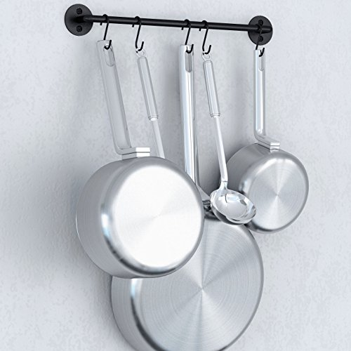 WALLNITURE Gourmet Kitchen Rail Rack Pot Pan Lid Organizer and 10 Hooks 16 Inch - Small Iron Rack Pot