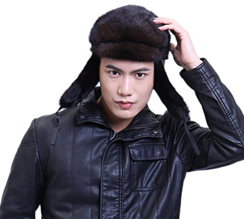 YR Lover Men's Mink Fur Trapper Hats Caps Outdoor Warm Earmuffs Beret Hat