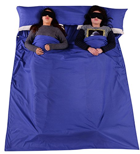 Outgeek Double Sleeping Bag Liner Lightweight 2 Person Sleep Sack Convenient for Camping Travel Hotel