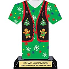 This acrylic ugly Christmas sweater trophy is colorful and fun - this is the perfect prize for your ugly Christmas sweater party! Includes 4 lines of free trophy personalization laser-engraved on the polished plate. The DINN TROPHY GUARANTEE ...