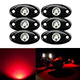 6 Pods LED Rock Lights Kit, Ampper Waterproof Underglow LED Neon Trail Rig Lights for Car Truck ATV UTV Baja Raptor Offroad Boat Trail Rig Lamp Underbody Glow (Red)