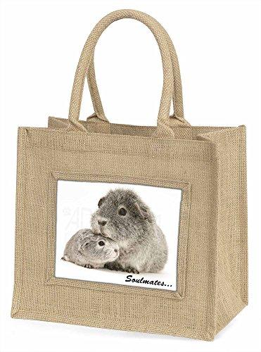 Advanta Silber Meerschweinchen Soulmates Große Einkaufstasche/Weihnachten Geschenk, Jute, beige/natur, 42x 34,5x 2cm