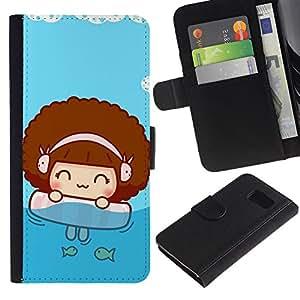 All Phone Most Case / Oferta Especial Cáscara Funda de cuero Monedero Cubierta de proteccion Caso / Wallet Case for Samsung Galaxy S6 // Cute Beach Girl