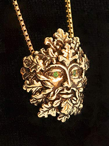 Green Man Pendant 14K Gold with Tsavorite Eyes Necklace Leaf Man ()