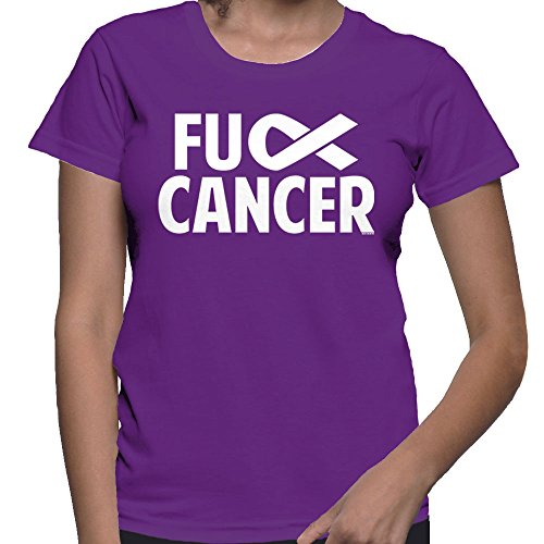 HAASE UNLIMITED Women's Fuck Cancer T-Shirt (Purple, Small)