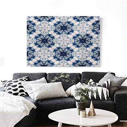 "Tie Dye Canvas Print Wall Art Tribal Tie Dye Technique Art Featured Odd and Hazy Forms in Symmetric Axis Design Artwork for Wall Decor 20""x16"" Blue Grey"