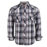 Coevals Club Men's Button Down Plaid Long Sleeve Work Casual Shirt (Yellow Grey #2 L)