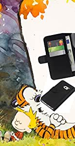 Protector de cuero de la PU de la cubierta del estilo de la carpeta del tirón BY RAYDREAMMM - Samsung Galaxy S6 EDGE - Tigre y Boy