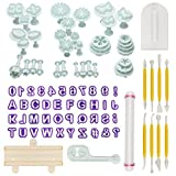 Aoafun 88pcs Fondant Sugarcraft Cake Decorating Plunger Cutters Icing Modelling Tool Kit Set with Rolling Pin, Smoother, Embosser Mold Mould Tools