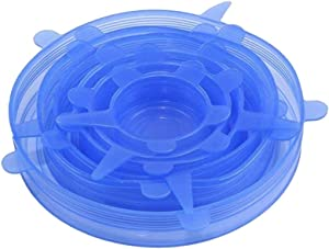 Silicone Stretch Lids 6-Pack Of Various Sizes, Winmany Silicone Bowl Lids Food Saver Covers Flexible Sealing Lids Bowl Pot Cup Lid- BPA Free, Dishwasher, Microwave, Oven and Freezer Safe (Blue)