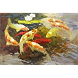 Perfect effect Canvas ,the Best Price Art Decorative Canvas Prints of oil painting 'Carps in the Pond', 8x12 inch / 20x30 cm is best for dining Room artwork and Home decoration and Gifts