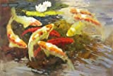 Best Pond's Moisturizers - Oil painting 'Carps in the Pond' printing on Review