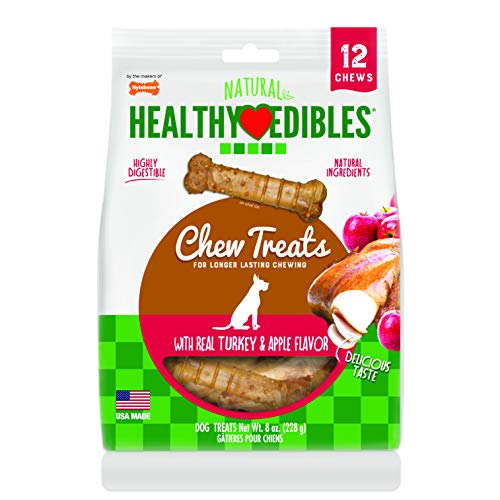 (Nylabone Healthy Edibles Turkey & Apple Flavored Dog Treats | All Natural Grain Free Dog Treats Made In the USA Only | Small and Large Dog Chew Treats | 12 Count )