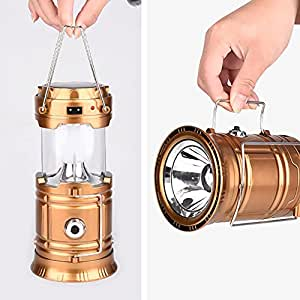 US Telescopic Solar Charge Camping 6LED Light Outdoor Portable Emergency Lantern - Gold - by L&R Digital