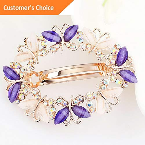 (Werrox Beautiful Women Girls Crystal Rhinestone Flower Hair Clip Hairpin Hair Clamp | Model HRPN - 1351 |)