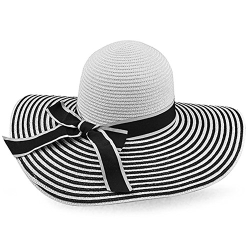 LOCOMO Black White Striped Bow Wide Brim Floppy Straw Hat FFH194BLK