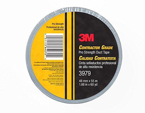 3M Contractor Grade Pro Strength Duct Tape 3979 Silver, 1.88 in x 60 yd 8.0 mil, Individually Wrapped, Conveniently Packaged 3 Duct Tape