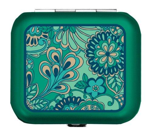 2668 Light Weight Metal Divided Pill Box Pillbox Case Emerald Meadows - Eden