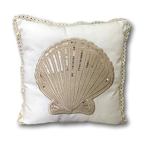 BANBERRY DESIGNS Sea Shell Pillow Cover Nautical Beach Cushion Cover - Seashell Design with Sequins - 14 3/4