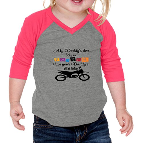 Cute Rascals My Daddy s Dirt Bike Is Faster Than Your Daddy s Dirt Bike Infants 60/40 Cotton/Polyester Jersey Shirt - Gray Hot Pink, 12 Months