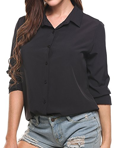 Zeagoo Women's Long Sleeve Casual Polka Dot Button up Office Blouse Shirt Top, Solid Black, XX-Large by Zeagoo (Image #3)
